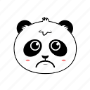 animal, avatar, emoticon, expression, face, panda, sad icon