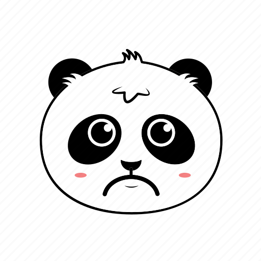 animal, avatar, emoticon, expression, face, panda, sad icon