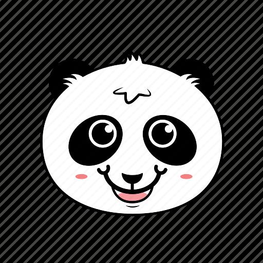 animal, emoticon, expression, face, happy, panda, smiley icon