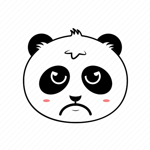 angry, animal, avatar, emoticon, expression, face, panda icon