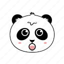 animal, avatar, emoticon, expression, face, panda, shock icon