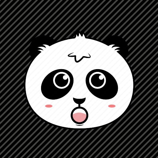 animal, avatar, emoticon, expression, face, panda, shock icon