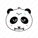 animal, emoticon, expression, face, panda, sad, sick icon