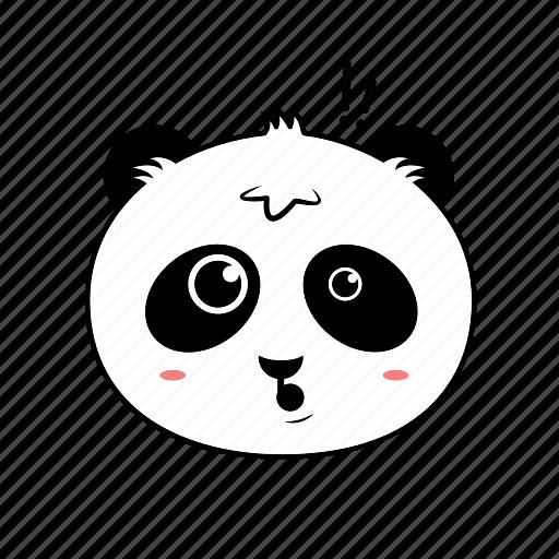 animal, emoticon, expression, face, horror, panda, smiley icon