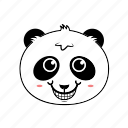 animal, emoticon, expression, face, happy, panda, smiley icon