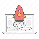 laptop, launch, live, project, rocket, success, website icon