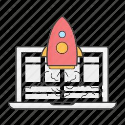 laptop, launch, live, project, rocket, success, website icon