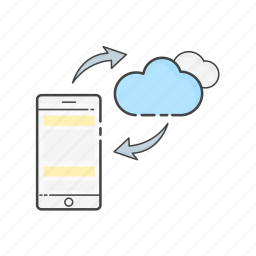 cloud, computing, mobile, phone, server, storage, sync icon