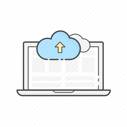 cloud, content upload, data, laptop, publish, server icon