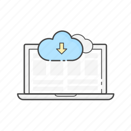content download, data, guardar, install, laptop, network, save, server icon