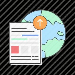 content upload, data upload, global, publish, server, upload, www icon