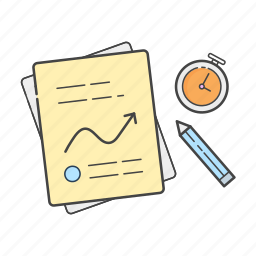 analytics, files, graph, notes, report, statistics, timer icon