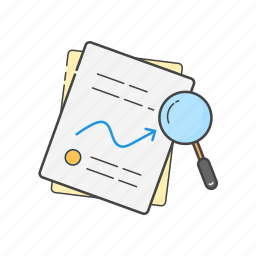 analytics, documents, files, graph, report, search, stats icon