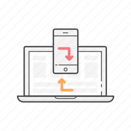 connection, laptop, mobile, phone, sync, update, updating icon
