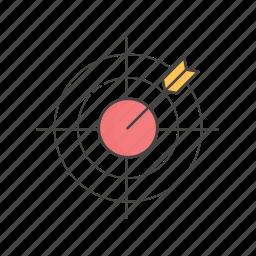 aim, arrow, bullseye, project, project goal, strategy, target icon