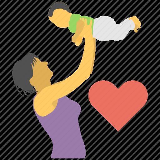mom love, motherhood, motherly relation, parenthood, playful mother icon