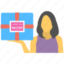 girl gift, holding gift box, lovely present, mom gift, mothers day icon