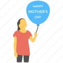 celebration, kids balloon, mother greeting, mother regard, mothers day icon