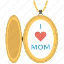 beautiful necklace, love heart, mom locket, mother love, stylish pendant icon