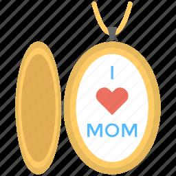 beautiful necklace, love heart, mom locket, mother love, stylish pendant icon