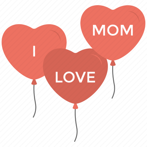 balloon, greeting, heart, mom love, mothers day icon