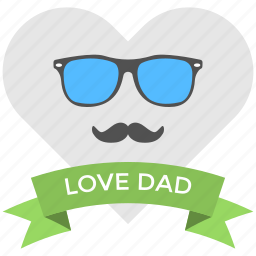 cool dad, dad love, fathers day, glasses and mustaches, greeting banner icon