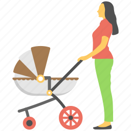 baby handling, mother care, mother pram, motherhood, parental bond icon