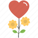 blooming relations, flowers, growing love, heart plant, plant icon