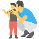 child, father, father son relation, fatherly love, kissing child icon