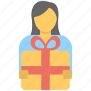 gift box, girl gift, holding gift box, presenting gift, receiving gift icon