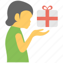 child gift, child holding gift, gift presentation, giving gift, receiving gift icon