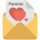 card for parents, envelope, letter, parent love, showing love icon