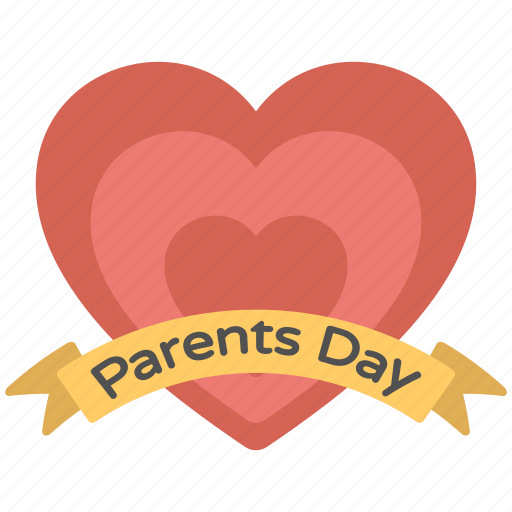 banner, heart logo, parents day, parents day badge, parents day card icon