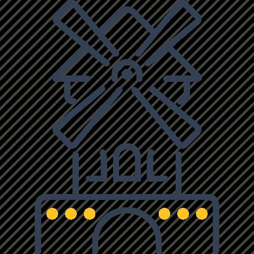 paris, wheat, windmill icon