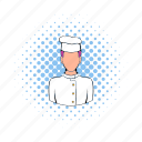 cap, chef, comics, cook, kitchen, man, restaurant icon