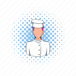 cap, chef, comics, cook, kitchen, man, restaurant icon