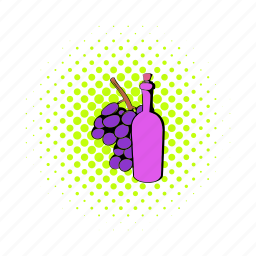 alcohol, bottle, comics, drink, france, grape, wine icon