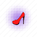 comics, elegant, footwear, heel, leather, red, shoe icon