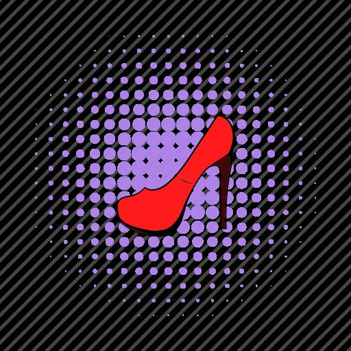 comics, elegant, footwear, heel, leather, red, shoe icon