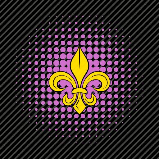 comics, emblem, fleur, flower, france, french, lily icon