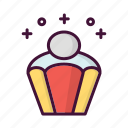 birthday, celebrate, drink, food, muffin, music, party icon