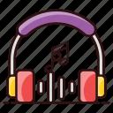 earphones, listening music, listening, headset, headphones, audio device, earplugs icon