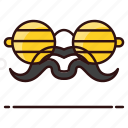 costume, glasses, moustache, party props, whisker icon