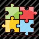 jigsaw, jigsaw puzzle, mind games, problem solving, puzzle, puzzle piece, tiling puzzle icon