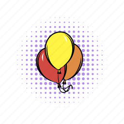 air, balloon, birthday, comics, heart, orange, red icon