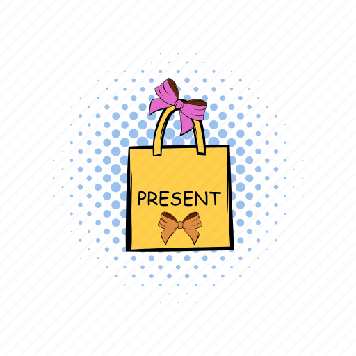 bag, comics, gift, paper, present, red, shopping icon