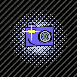 camera, comics, equipment, lens, photo, photography, technology icon