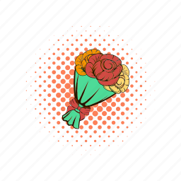 birthday, bouquet, comics, flower, love, red, rose icon