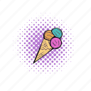 comics, cone, cream, dessert, flavor, ice, icecream icon