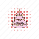 cake, cherry, comics, day, dessert, food, sweet icon